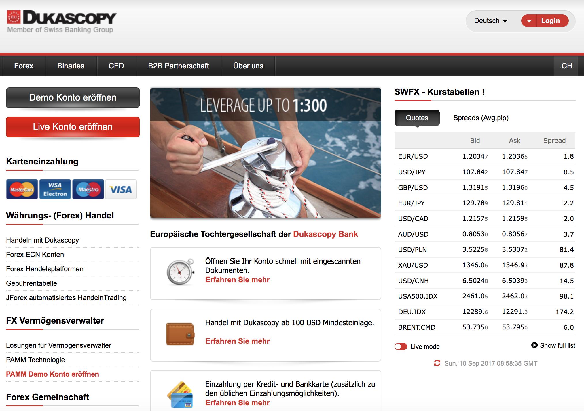 Website des Brokers Dukascopy