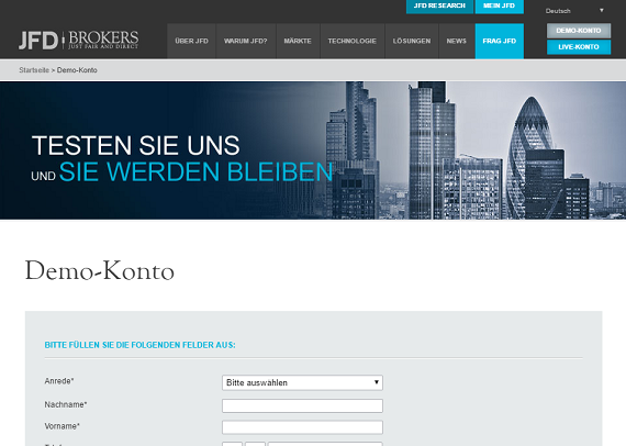 JFD Brokers Demokonto