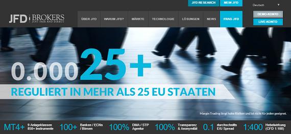 JFD Brokers Webseite