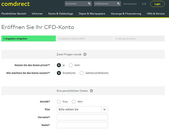 CFD Konto bei Comdirect eröffnen