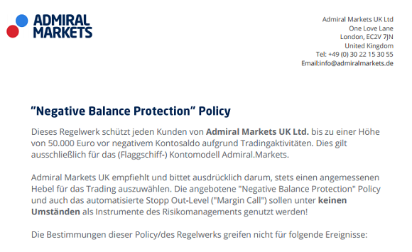 Admiral Markets Negative Balance Protection Policy