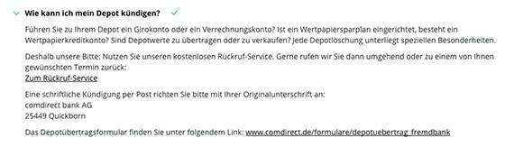 depotkndigung comdirect - Muster Depot