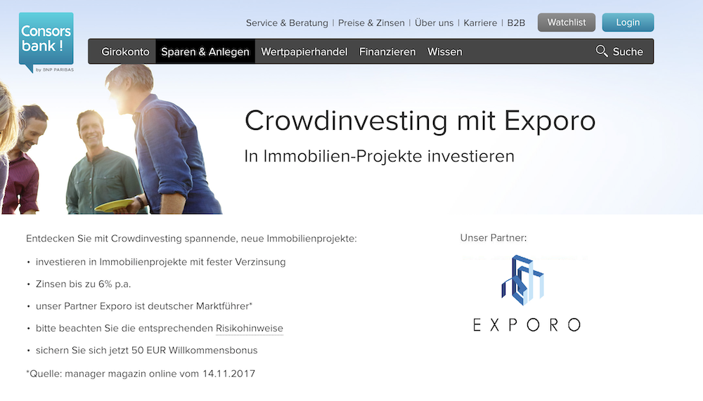 Consorsbank Exporo Crowdinvesting