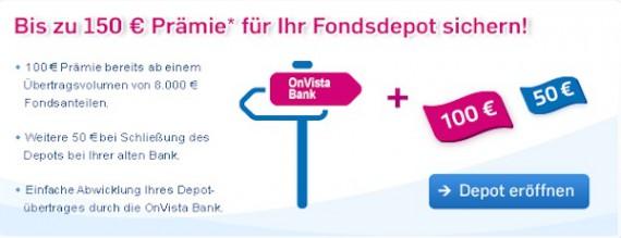 Bis zu 150 Euro Wechselprämie bei der OnVista Bank