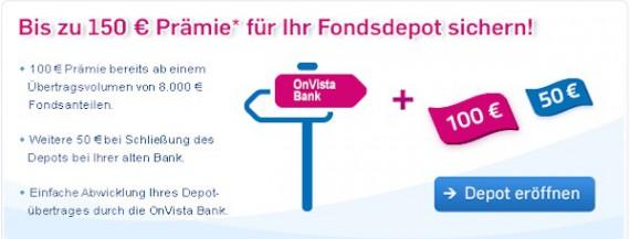 Bis zu 150 Euro Prämie für einen Depotübertrag zu OnVista Bank