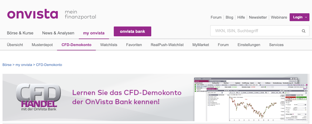 OnVista Bank CFD Demokonton OnVista Musterdepot