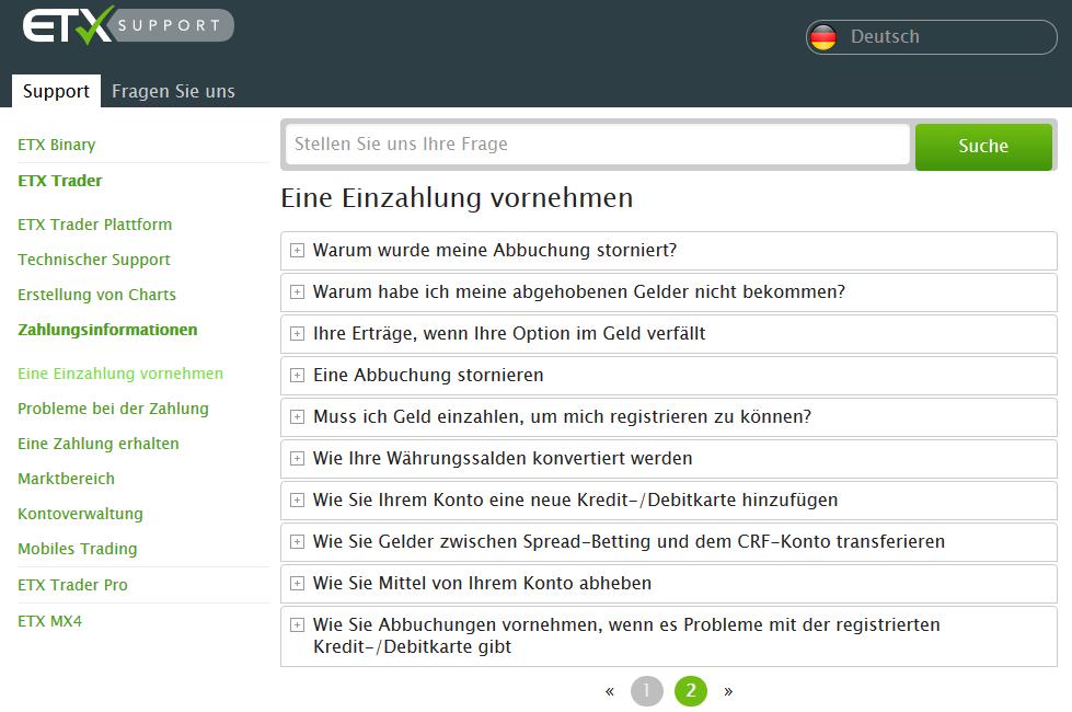 ETX Capital 2 - Im Support-Bereich des Unt...