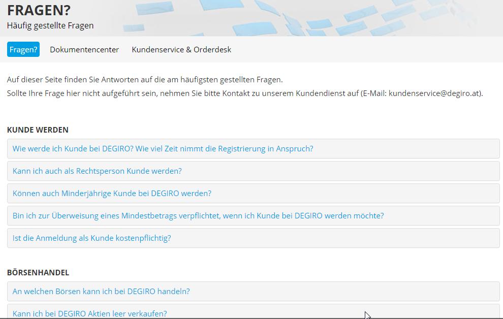 Degiro FAQ's