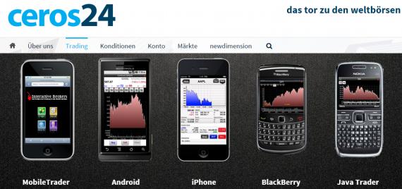 Mobiler Handel bei Ceros24 mit Android App