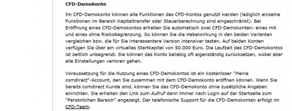 Das CFD Demokonto von comdirect auf einen Blick
