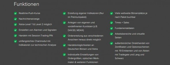 Diverse Funktionen der Handelssoftware Flatex Trader 2.0