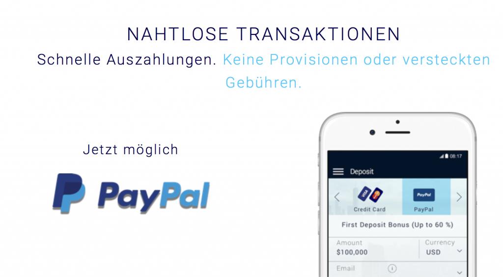 Die Xtrade Einzahlung ist auch via PayPal möglich.