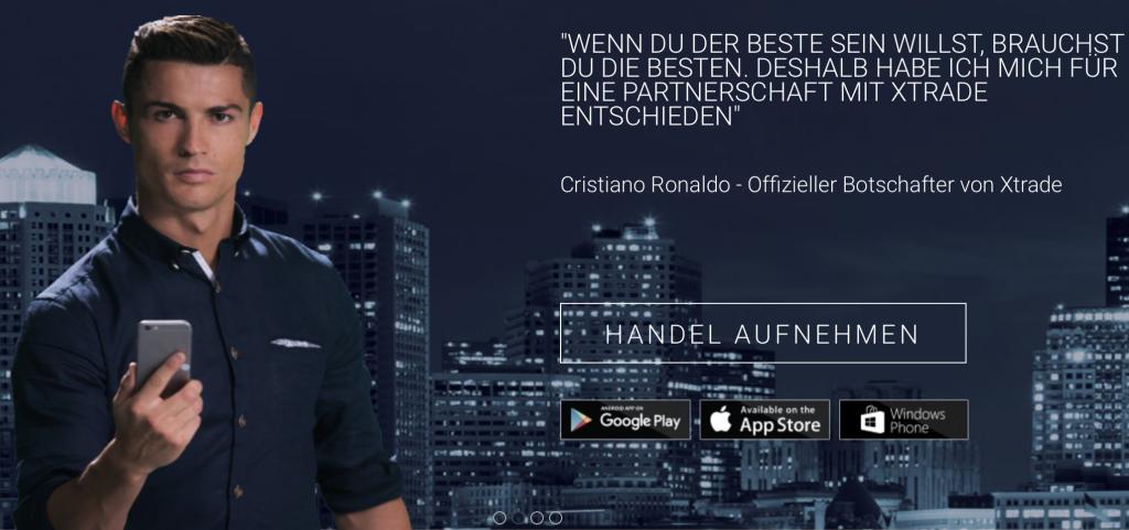 Christiano Ronaldo wirbt für Xtrade