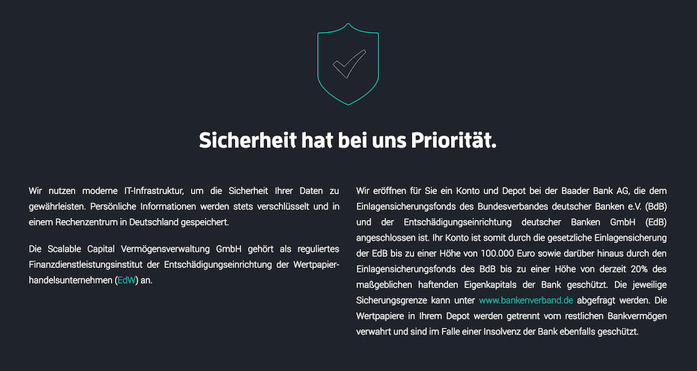 Scalable Capital Sicherheit