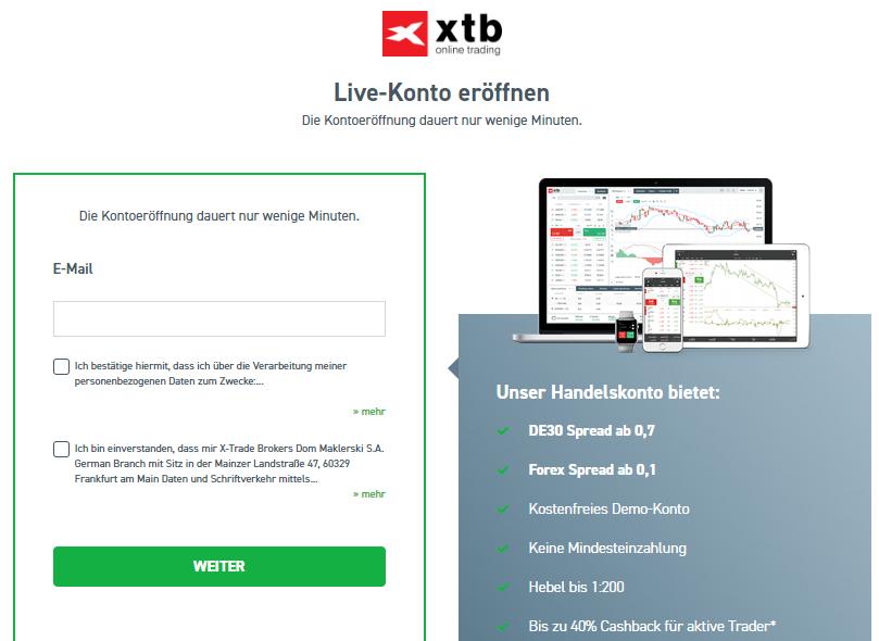 Nach der XTB Online Kontoeröffnung können Trader sofort handeln.