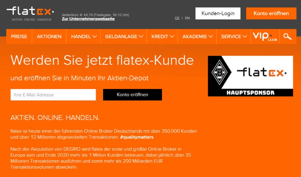 Ein Blick auf die Homepage des Brokers flatex
