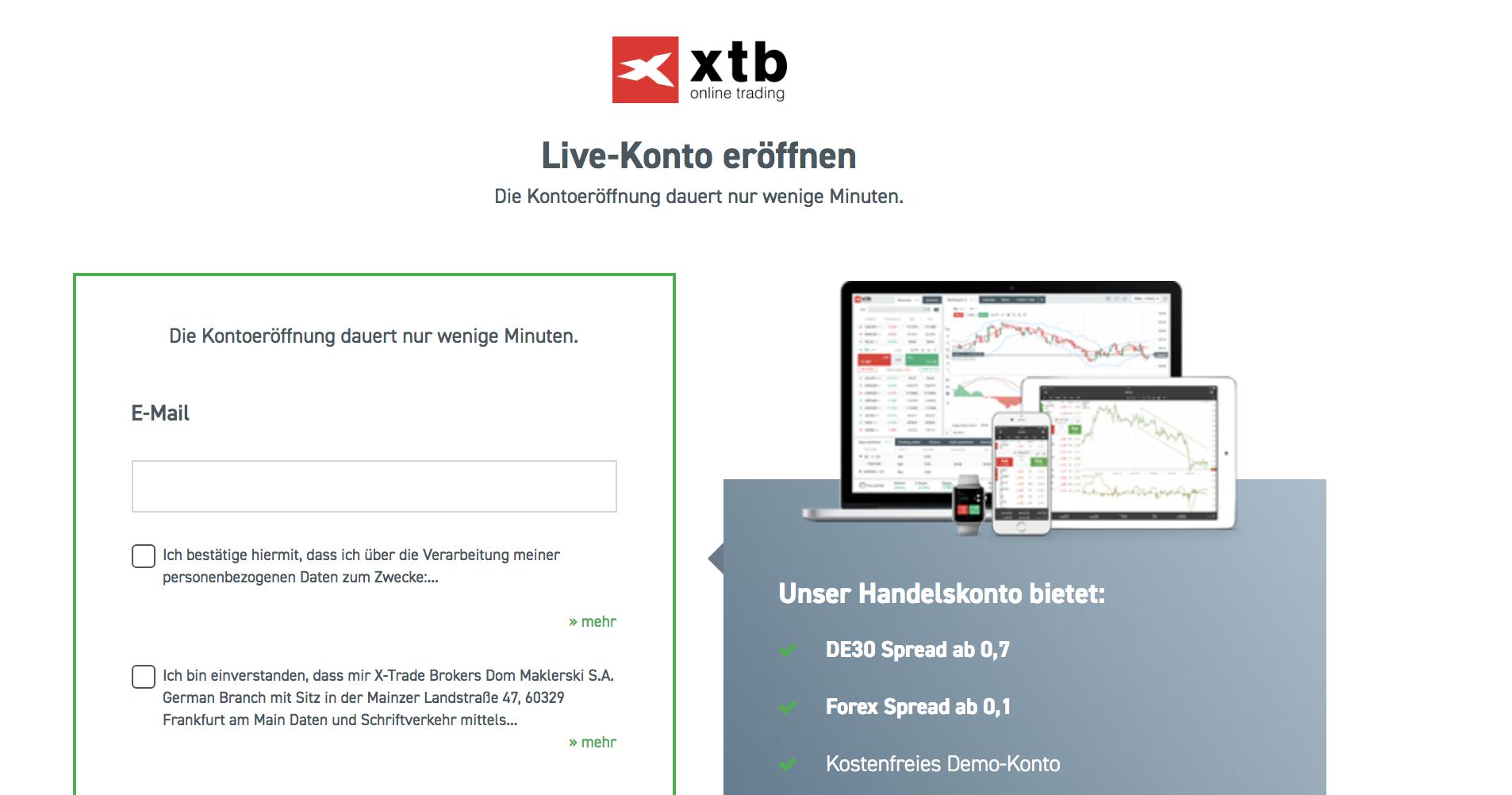 Um echte Aktien handeln zu können, benötigt man ein XTB Live-Konto