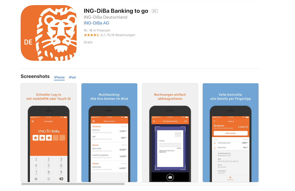 ING-DiBa App Screenshots