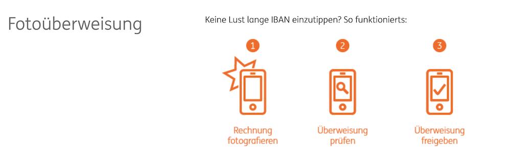ING-DiBa Banking App Foto-Überweisung