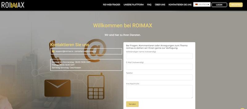 Kontaktformular von Roimax