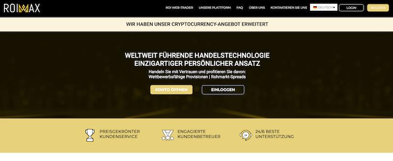 Die Homepage von Roimax